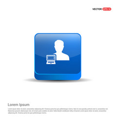 Computer user icon - 3d blue button vector