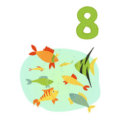 Counting from 1 to 10 number 8 page with colorful vector