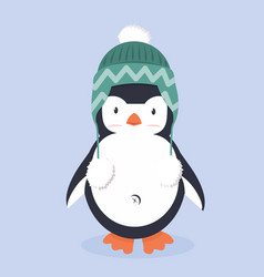 cute penguin characters with hat vector image