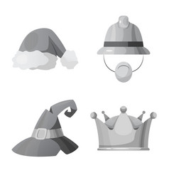 Design of headwear and cap icon collection vector