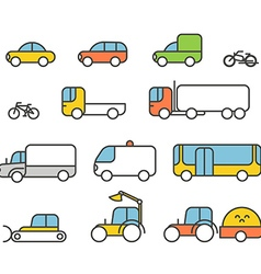 Different transport silhouette icons collection vector