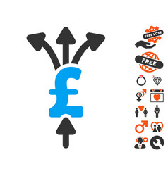 Divide pound payments icon with lovely bonus vector