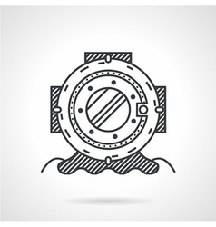 Diving helmet black line icon vector