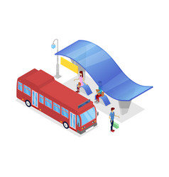 Downtown bus stop isometric 3d icon vector
