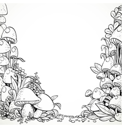 Fairytale decorative graphics mushrooms and vector image