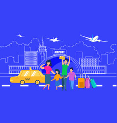 family transfer to airport with taxi flat vector image