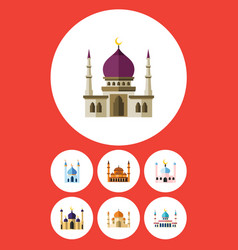 flat icon mosque set of religion structure vector image