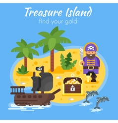 Flat style of pirate ship island vector