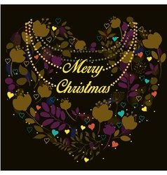 Floral heart merry christmas greeting card vector