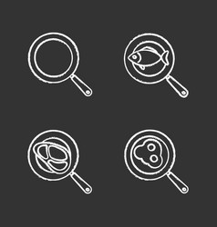Frying pans chalk icons set vector