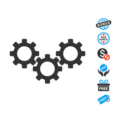 Gear box icon with free bonus vector