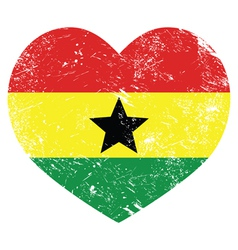 Ghana retro heart shaped flag vector
