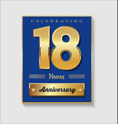 Gold and blue anniversary banner collection 18 vector