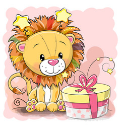 Greeting card cute lion with gift vector