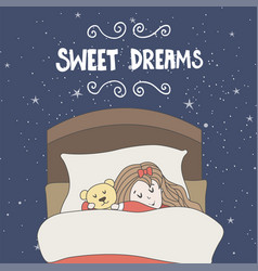 Greeting card with sleeping girl and toy vector
