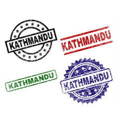 Grunge textured kathmandu seal stamps vector