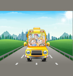 happy children riding a car vector image