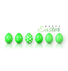 happy easter color easter eggs on white background vector image