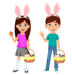 happy easter cute children wearing bunny ears vector image