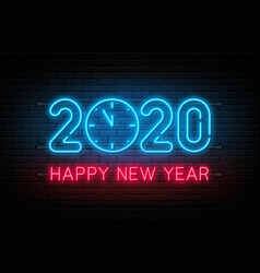 Happy new year 2020 neon sign glowing text 2020 vector