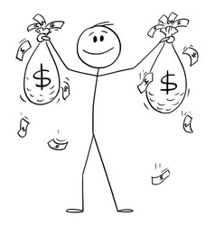 Happy successful man or businessman holding bags vector