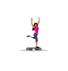 Healthy lifestyle sign A young girl on step board vector image