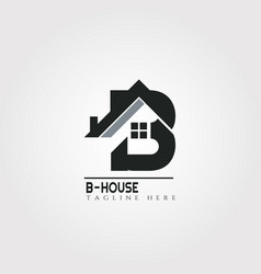 House icon template with b letter home creative vector