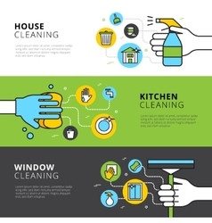 House Kitchen And Window Cleaning Banners vector