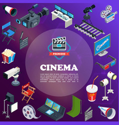 Isometric cinema concept vector