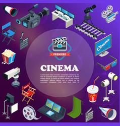 isometric cinema concept vector image