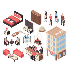 Isometric hotel set vector