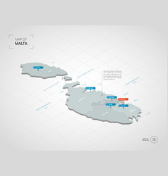 isometric malta map with city names and vector image