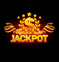 jackpot banner with dollar sign and red ribbon vector image