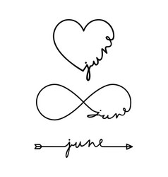 june - word with infinity symbol hand drawn heart vector image