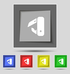 Knife picnic icon sign on original five colored vector