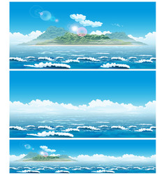 landscape of the open sea with the island vector image