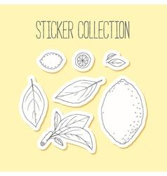 Lemonade sticker collection with hand drawn lemon vector