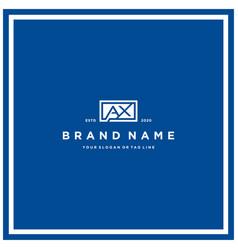Letter ax rectangle logo design vector