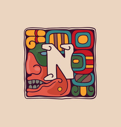 Letter n logo in aztec mayan or incas style vector