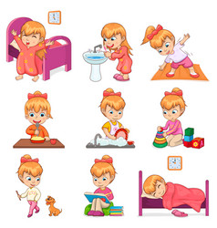 Little girl does daily routine set vector
