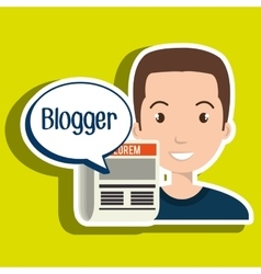 Man cartoon blogger web vector