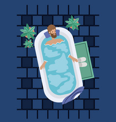 Man with beard taking a bath tub vector