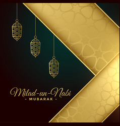 Milad un nabi greeting card in golden colors vector