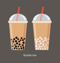 Milk bubble tea drink tapioca cup boba vector