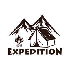 mountain camping campfire logo and labels vector image