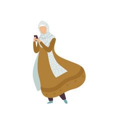 Muslim woman standing with smartphone modern arab vector