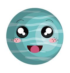 Neptune planet kawaii character vector