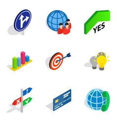 operation icons set isometric style vector image