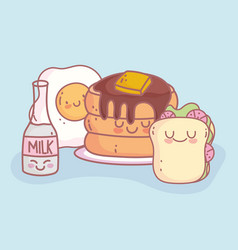 pancakes fried egg milk and sandwich character vector image
