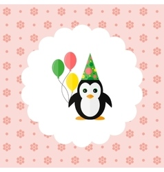 penguin in cap and with balloons vector image